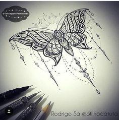 Butterfly tattoo. Thigh tattoo