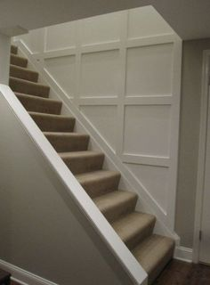 20 Ideas For Basement Stairs Diy Staircase Remodel Wainscoting – Home Renovation Staircase Molding, Stairs Trim, Basement Staircase, Staircase Remodel, Basement Bedrooms, Staircase Ideas, Basement Apartment, Apartment Renovation, Basement Wall Panels
