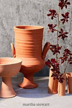 """Booking time at the art studio can be costly. Instead, head outdoors with easy-to-use air dry terra-cotta clay and use your hands to mold one-of-a-kind """"pottery""""—sun-kissed tableware, pots and planters, bud vases, jewelry stands, and candle holders. #marthastewart #crafts #diyideas #easycrafts #tutorials #hobby"""