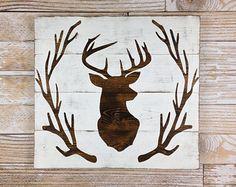 Wooden Deer Wreath | Deer Head Antler Wreath Wood Plank Sign, Home Decor,  Rustic. Hirsch BildHirsch DekoGeweih ...