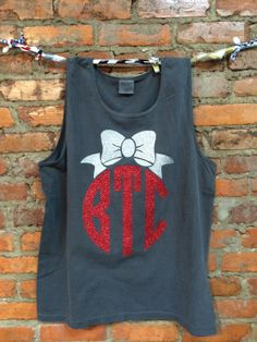 Glitter Monogram and Bow Comfort Colors Tanks