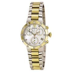 Bulova 98R209 Women's Maiden Lane MOP Dial Two Tone Steel Chronograph Diamond Watch