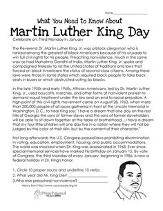 Martin Luther King Jr. Reading Comprehension Passage for kids ...