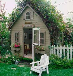 Darling little house.love the window boxes! This is not really a garden shed but rather a garden cottage. Even has a white picket fence! So quaint and cute. I continue to have hopes for my own garden shed. Garden Cottage, Cozy Cottage, Home And Garden, Backyard Cottage, Backyard Retreat, Cottage House, Garden Nook, Goat House, Fairytale Cottage
