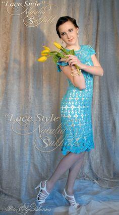 """El vestido de encaje exclusivo """"Turquesa"""", bruge encaje, el arte del ganchillo hecho a mano."""