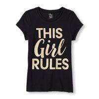 Girls Short Sleeve 'This Girl Rules' Glitter Graphic Tee