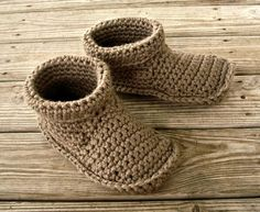 Hand Crocheted Slippers - Mens Crochet Slippers in Taupe - Mens Slippers Size US 11 - 12