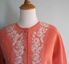 vintage beaded sweaters | Vintage 50s Beaded Cardigan - Coral Wool Sweater with White Beading M ...