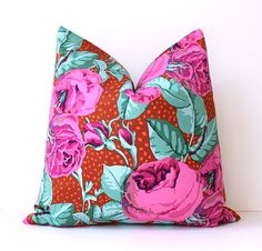 Pink and Aqua Floral Designer Pillow Cover 18 Accent Cushion garden flowers blooms bright bold magenta mint polka dots orange rust spring via Etsy, $40