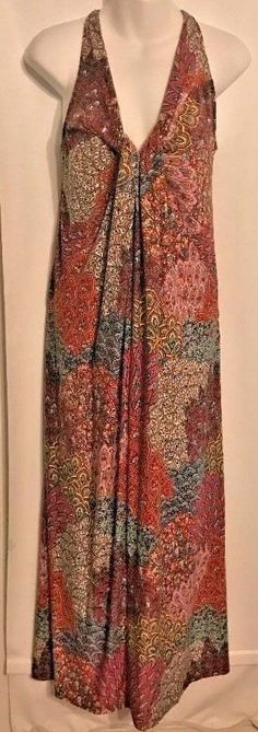 Dram Dance Size M Maxi Dress Paisley Multi-Color Polyester Blend W/Embellishment #DreamDance #MaxiSundress #Clubwear