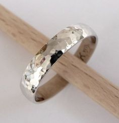 White gold wedding band hammered wedding ring 4mm by havalazar, $285.00 kind of like for Weez