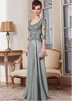 Elegant Tulle & Silk-like Chiffon Sheath Scoop Neckline Full-length Mother of the Bride Dress