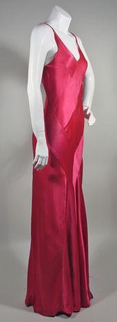 1930s Hot Pink Silk Satin Bias Cut Vintage Evening Dress