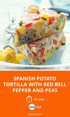 Spanish Potato Tortilla with Red Bell Pepper and Peas - smarter - Kalorien: 364 Kcal - Zeit: 40 mins | eatsmarter.de