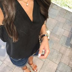 Perfect summer outfit, Paige denim Jimmy Jimmy shorts, M. Gemi Attorno sandals review, Tory Burch robinson chain wallet, Banana Republic black sleeveless blouse, Pearl necklace, CND winter glow nails, outfit inspiration