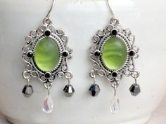 Earrings Candy Apple Green with Silver and by LivingOutLoudJewelry    I just bought these. I can't wait to get them. Check out her site. Very cool and funky. Love it!
