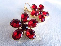 Reproduction Regency Flower Earrings with Paste Garnets by Dames a la Mode on Etsy