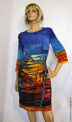 """Платья ручной работы. Ярмарка Мастеров - ручная работа. Купить Платье Батик """"Африка"""". Handmade. Синий, джунгли, батик платье"""