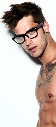 Thick black framed glasses for a sleeker look