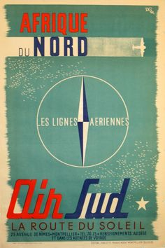 Vintage airline advertising poster promoting travel to North Africa. Afrique du Nord by D.G.1948. AntikBar
