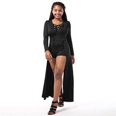 Womens Sexy Deep V-neck Long Sleeve Lace up High Split Skirt Bandage Club Dress ** Find out more about the great product at the image link. (This is an affiliate link and I receive a commission for the sales)