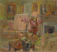 Susan Ryder RP NEAC (b.1944) — Dower House Lamps and Orchid (780x709)