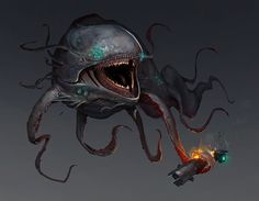 Concepts made for Concept Artist RPG 4 contest. Alien Creatures, Fantasy Creatures, Mythical Creatures, Sea Creatures, Monster Design, Monster Art, Aliens, Alien Aesthetic, Creepy Monster