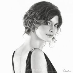 Audrey Tautou - Pencil Drawings by Henrik Moses | Cuded