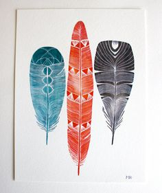Feather Art Watercolor Painting  Large Archival Print by RiverLuna, $40.00