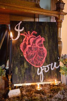 Heart wedding signage | Ashley Gerrity Photography | see more on: http://burnettsboards.com/2014/10/gothic-wedding-ideas/
