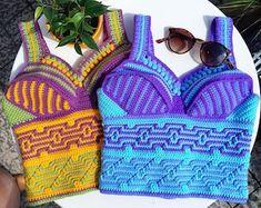 Crochet Top | Etsy Crochet Bikini, Bikinis, Swimwear, Crochet Top Outfit, Crochet Patterns, Crop Tops, Etsy, Unique, Handmade