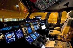 The cockpit of an Airbus A380. A very different flying environment compared to the first jet based commercial airliners from the 1960s.