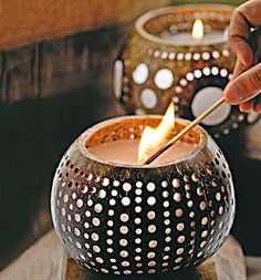 Perfect Diy Coconut Shell Ideas For Everyonen That Simple To Try 32 Coconut Shell Crafts, Coconut Bowl, Gourd Lamp, Leaf Crafts, Diwali Decorations, Seashell Crafts, Egg Shells, Home Crafts, Candle Jars