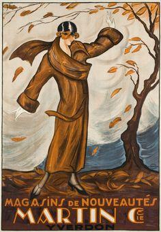 Poster by Y. Betu, 1924, Magasins de nouveautés, Martin  Cie, Yverdon. (S)