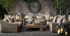 Cool Gardens: Outdoor Furniture - Provence Outdoor Furniture from Restoration Hardware. I like the softened brown/gray. It's SOOOO comfortable, too. Not usually a fan of wicker, but in person, it looks cool. Outdoor Rooms, Outdoor Living, Outdoor Decor, Indoor Outdoor, Garden Furniture, Home Furniture, Rattan Furniture, Antique Furniture, Rattan Armchair