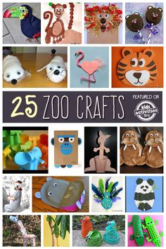 "A whole ""zoo"" of crafts! From lions and tigers to flamingos and pandas- if you are teaching a zoo theme- you need this roundup of awesome animal crafts! Zoo Crafts Preschool, Animal Activities, Preschool Themes, Craft Activities For Kids, Fun Crafts, Indoor Activities, Classroom Themes, Animal Crafts For Kids, Art For Kids"