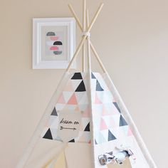 Pink & Peach Shaded Triangles with Canvas Play Tent by AshleyGabby