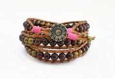 Wrap beaded bracelet summer bracelet gypsy jewelry by DOCECUENTAS