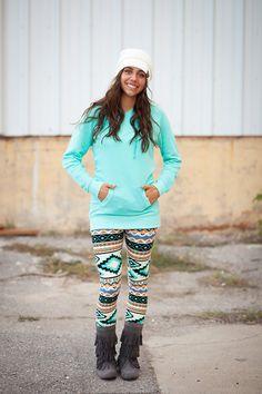 Cute Mint Aztec Leggings. This website has SOO many affordable leggings. (http://www.mysisterscloset-boutique.com/mint-aztec-leggings/)