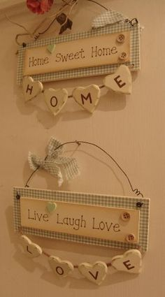 Set of 2 Cream and Duck Egg Blue hanging plaque with string and hanging wooden hearts - Home Sweet Home and Live Laugh Love  Price : £18.00 http://www.fourseasonsliverpool.com/hanging-plaque-string-wooden-hearts/dp/B008DSKJYS