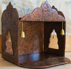 Pooja room mandir can easily be made at home using a carton. Get DIY idea and method to make pooja room mandir design with waste materials and no expense. Home Crafts, Easy Crafts, Diy And Crafts, Diwali Decorations, Festival Decorations, Cubicle Decorations, Cardboard Crafts, Paper Crafts, Ganpati Decoration At Home