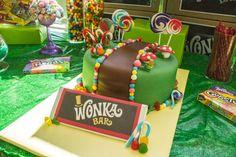 Willy Wonka inspired cake Wonka Chocolate, Chocolate Party, Chocolate Cake, Charlie Chocolate Factory, Mad Science Party, Bithday Cake, Willy Wonka, Candy Party, Candyland