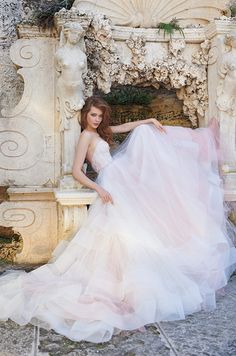 Strapless pink tulle ball gown wedding dress by Tara Keely, Spring 2015. Click to view the full collection.