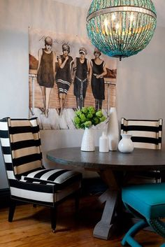 orb chandelier & graphic striped chairs