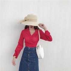 Fashion Women Long Sleeve Turn Down Wave Points Paint Collar Chiffon Shirt Tops