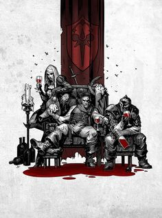 If It Bleeds | Created for Darkest Dungeon's vampiresque DLC: The Crimson Court. The Graverobber, Highwayman and Bounty Hunter enjoy some downtime! There is no wine in this picture :)