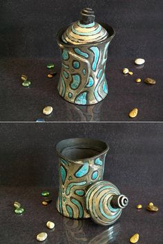 Raku ceramic Jar with lid lidded jar ceramic canister with