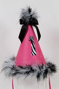 zebra birthday party hat