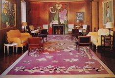 Neslon Rockefeller Apartment by J-M Frank, 1937. Superb rug