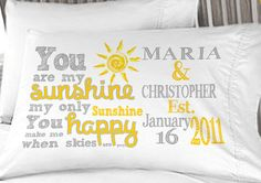 You Are My Sunshine Boyfriend Girlfriend Couple Anniversary Pillowcases Love Personalized Miss You on Etsy, $14.50